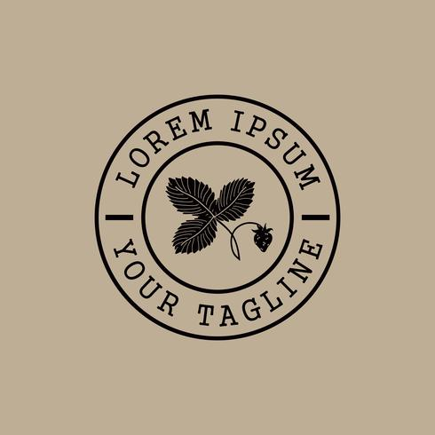 aardbei stempel logo ontwerpsjabloon concept vector