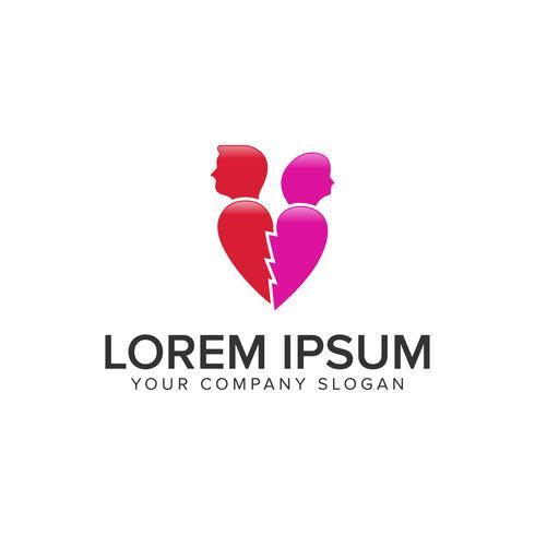 liefde gekwetst mensen logo ontwerpsjabloon concept vector