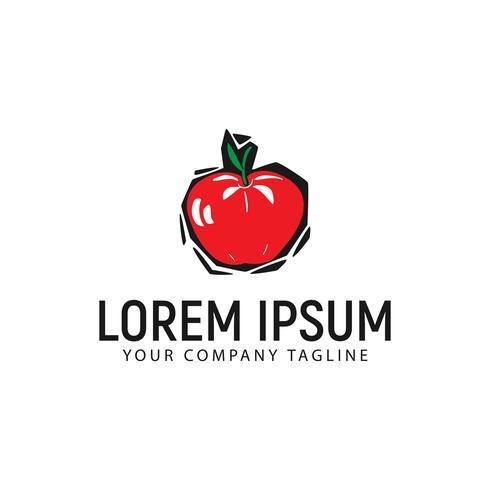 appel hand getrokken logo ontwerpsjabloon concept vector