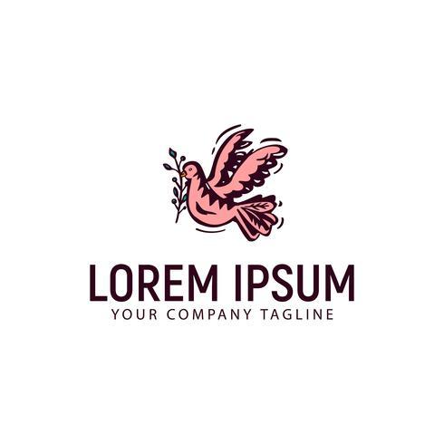 duif met bloem hand getrokken logo ontwerpsjabloon concept vector