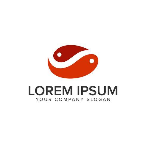 paar vis logo ontwerpsjabloon concept. volledig bewerkbare vector