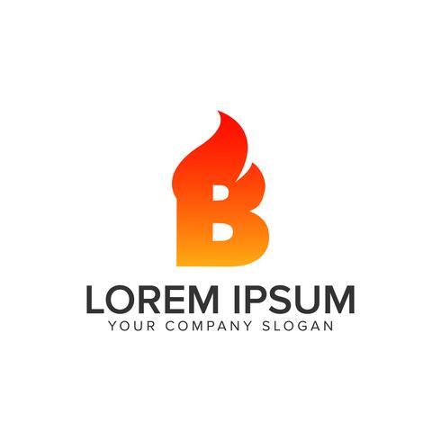 letter B ontsteking vuur logo ontwerpsjabloon concept. volledig edita vector