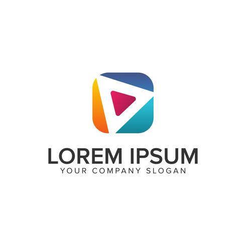 Speel multimedia logo ontwerpsjabloon. volledig bewerkbare vec vector