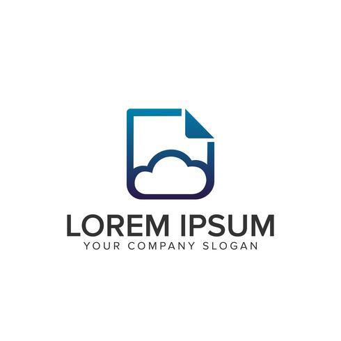 cloud document logo vector