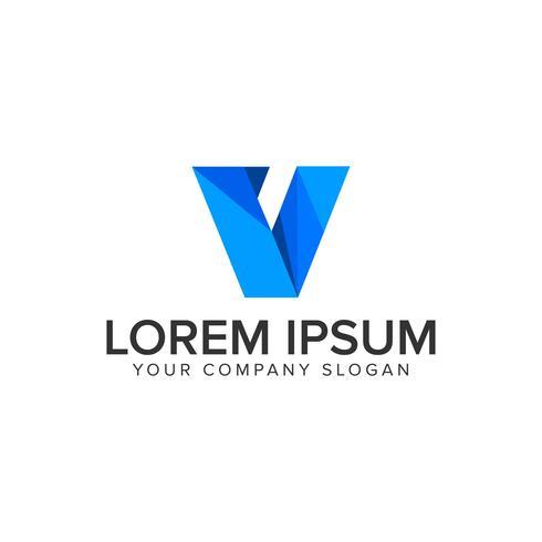 Moderne letter V technologie bedrijfslogo ontwerpsjabloon concept vector