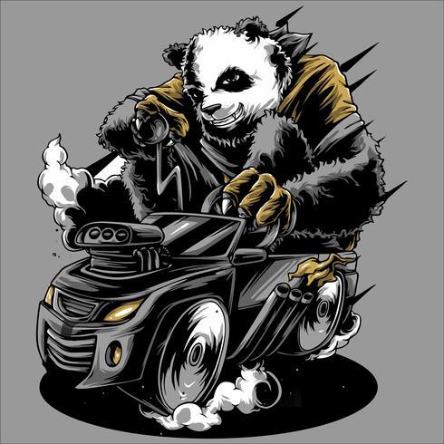 Panda rijden de auto de hand tekening vector