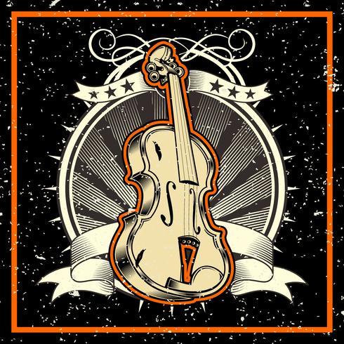 grunge-stijl De klassieke muziek Concept Viool Vector Illustratie - Vector