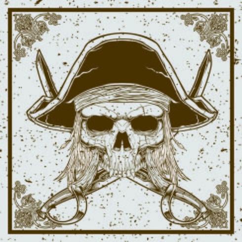 grunge stijl piraat schedel en zwaard gekruiste vector illustratie