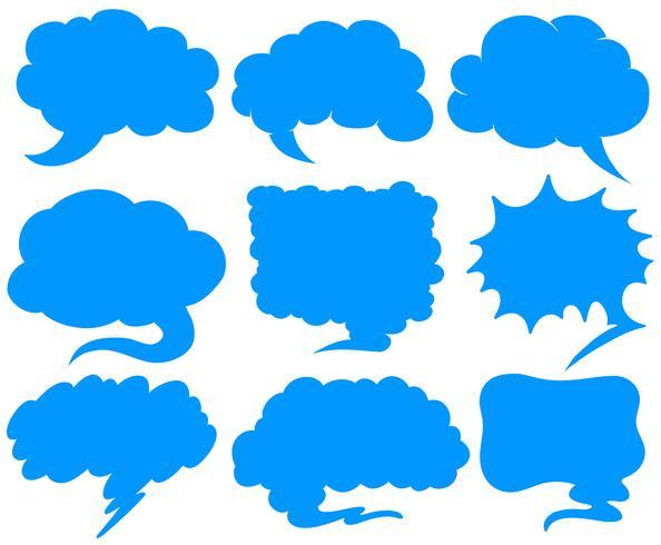 Blauwe tekstballonnen in verschillende vormen vector