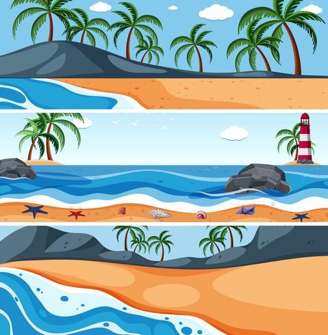 Zomer zee landschaps sjabloon vector