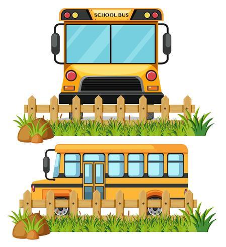 Een font en een schoolbus vector