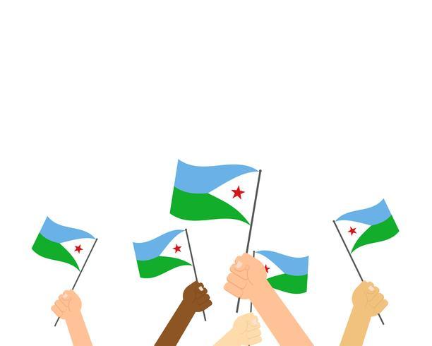 Vectorillustratie van handen die de vlaggen van Djibouti houden die op witte achtergrond worden geïsoleerd vector
