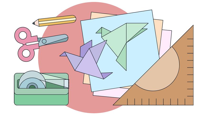 Oefen Origami Vector