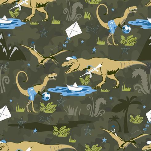 Speel Lover Dinosaur Naadloos patroon voor kindermode. Kinderachtige achtergrond met schattige dinosaurussen. vector