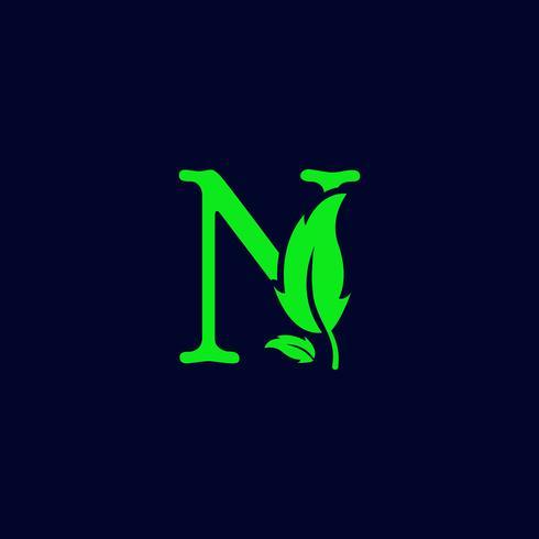 letter n blad aard, eco groen logo sjabloon vector geïsoleerd