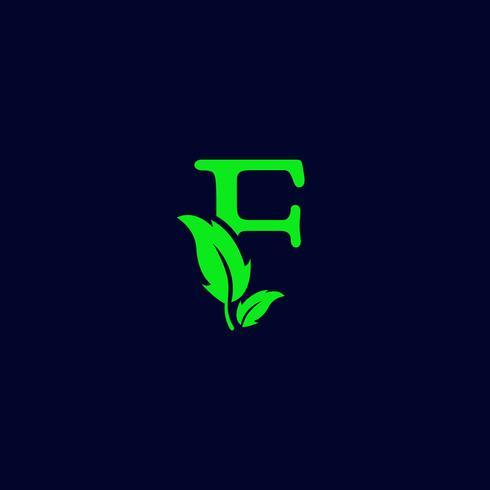 letter f blad aard, eco groen logo sjabloon vector geïsoleerd
