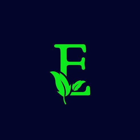 letter e blad aard, eco groen logo sjabloon vector geïsoleerd