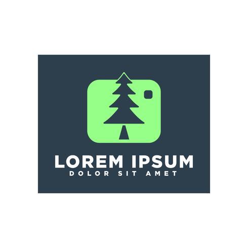 Landschap of boom natuur fotografie logo sjabloon vector geïsoleerd