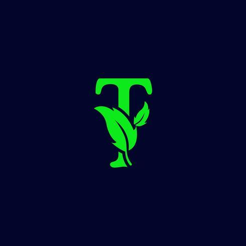 letter t blad aard, eco groen logo sjabloon vector geïsoleerd