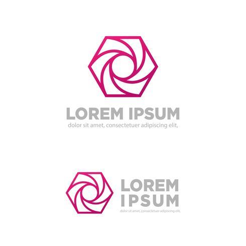 zeshoek fotografie creatief logo sjabloon vectorillustratie vector