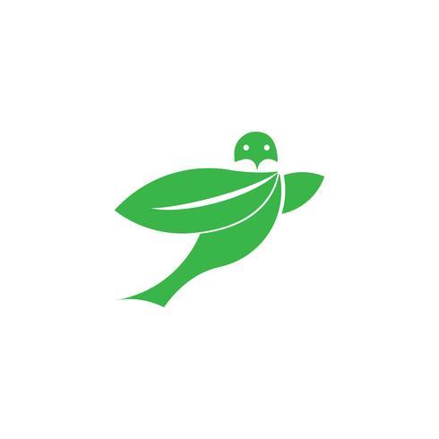 vliegende vogel blad eco groen logo sjabloon vector geïsoleerd