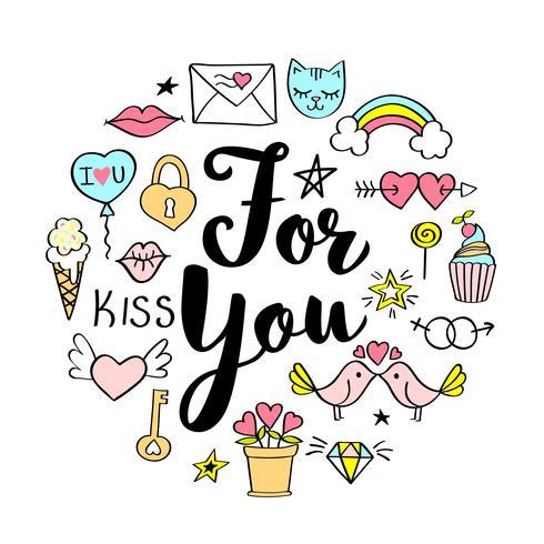 For You belettering met girly doodles voor Valentijnsdag kaart ontwerp, meisje t-shirt print, posters. Hand getekend fancy slogan in cartoon stijl. vector