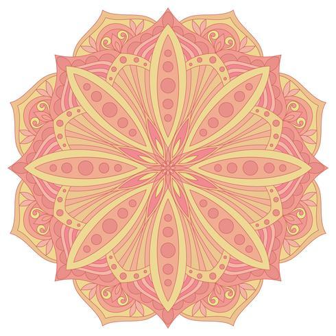 Etnisch decoratief ontwerpelement. Kleurrijk vectormandalasymbool. Rond abstract bloemenornament. vector