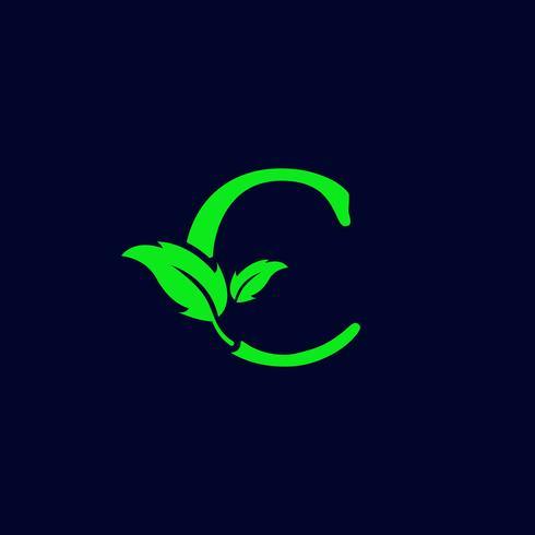 letter c blad aard, eco groen logo sjabloon vector geïsoleerd