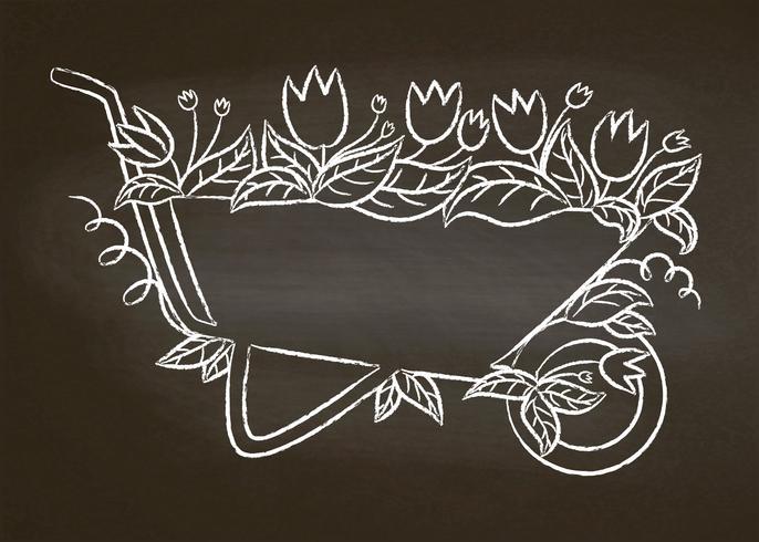 Krijtcontour van uitstekende tuinkruiwagen met bladeren en bloemen op schoolbord. Typografie tuinieren poster. vector
