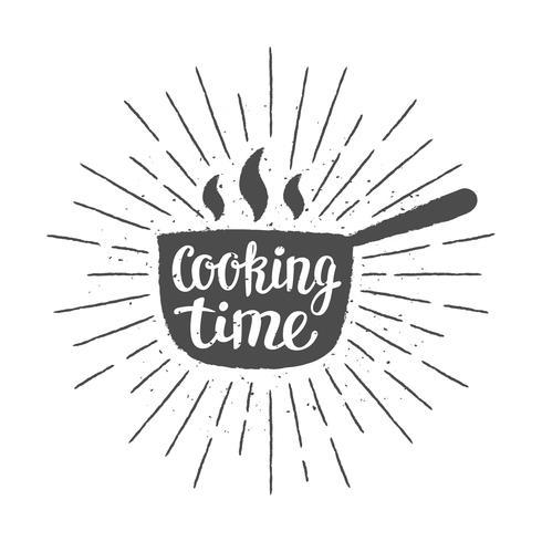 Pot silhoutte met letters - kooktijd - en vintage zonnestralen. Goed voor het koken van logotypes, bades of posters. vector