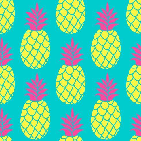 Ananas naadloos patroon in trendy kleuren. Zomer kleurrijke herhalende achtergrond voor textiel ontwerp behang, scrapbooking. vector