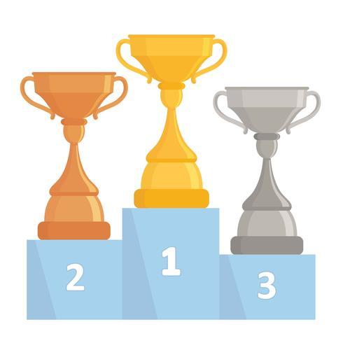 Gouden, zilveren en bronzen trofeekoppen. Tree winner cups op het podium. Plat ontwerp. vector