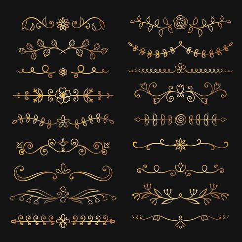 De inzameling van gouden getrokken hand bloeit tekstverdelers. Doodle gouden botanische randen voor typografieontwerp, uitnodigingen, wenskaarten. Kalligrafische en bloemenontwerpelementen. vector