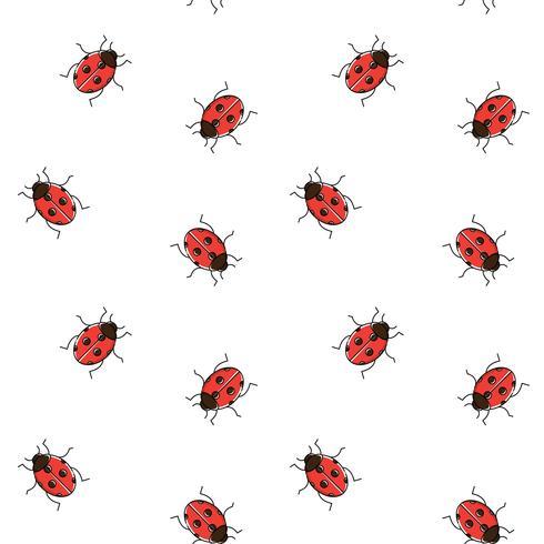 Lieveheersbeestje naadloos patroon. Lieveheersbeestje herhalende achtergrond voor behang, onmiddellijke verpakking vector