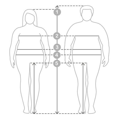 Contouren van overgewicht man en vrouw in volle lengte met meetlijnen van lichaamsparameters. Dames- en herenkleding plus maten. Menselijke lichaamsafmetingen en verhoudingen. vector