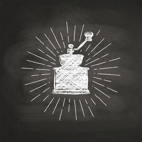 Krijt getextureerde koffiemolen silhouet met vintage zonnestralen op zwarte bord. Vector koffiemolen illustratie voor drank en drank menu of café thema, poster, t-shirt afdrukken, logo.