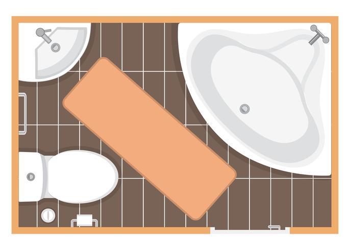 Badkamer interieur bovenaanzicht vectorillustratie. Plattegrond van de toiletruimte. Plat ontwerp. vector