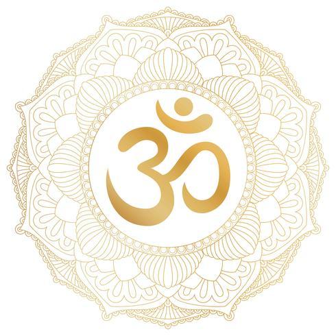 Aum Om Ohm-symbool in decoratief rond mandalaornament. vector