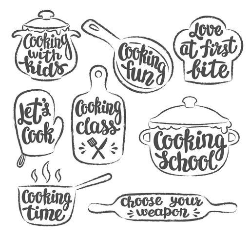 Verzameling van grunge voorgevormde koken label of logo. Handgeschreven letters, kalligrafie koken vectorillustratie. Kok, chef-kok, keukengerei pictogram of logo. vector