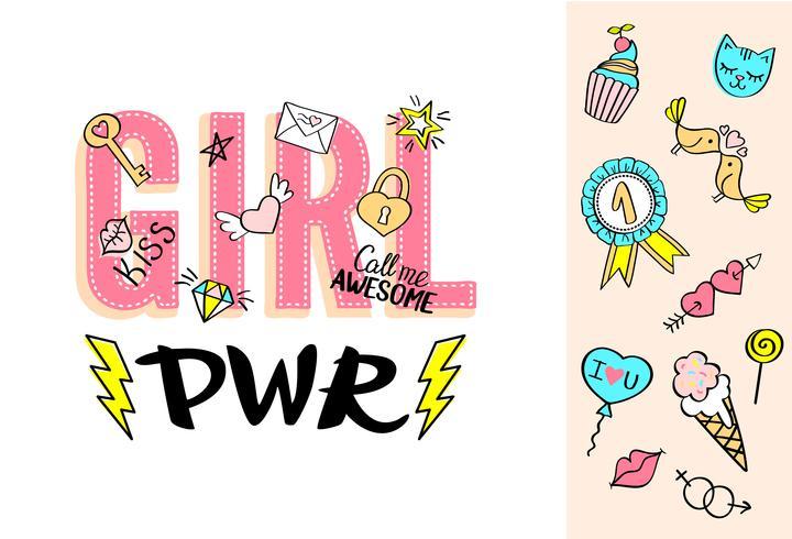 Girl Power belettering met girly doodles en hand getrokken zinnen voor Valentijnsdag kaart ontwerp, meisje t-shirt afdrukken. vector