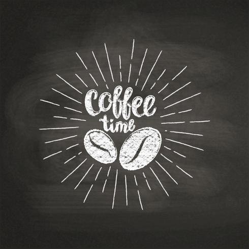 Krijt getextureerde letters Koffie tijd met koffiebonen op zwarte bord. Handgeschreven citaat voor drank en drank menu of café thema, poster, t-shirt afdrukken, logo. vector