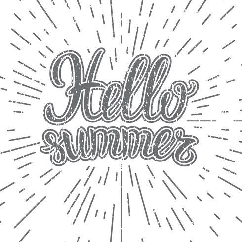 Vector hand belettering inspirerende typografie poster Hallo zomer. Hallo zomer belettering. Inspirerende quote Hallo zomer. Monochrome belettering Hallo zomer
