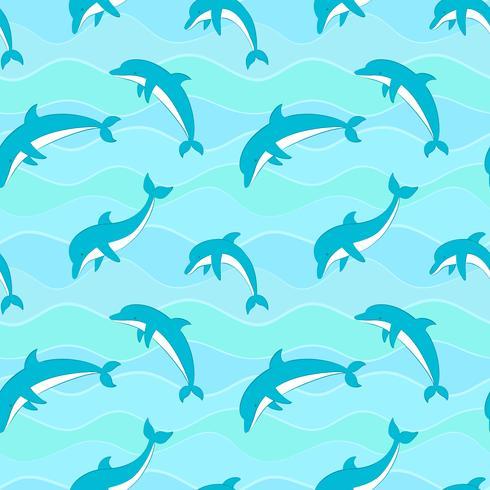 Vector naadloos patroon met dolfijnen op golvenachtergrond.
