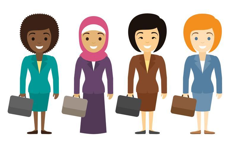 Vrouwelijke ondernemers tekens van verschillende etniciteit in vlakke stijl. vector