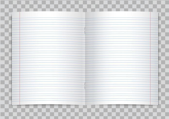 Vector geopende realistische bekleed basisschool beurt met rode marges op transparante achtergrond. Mockup of sjabloon van lege bekleedde geopende pagina's van notebook of werkboek met nietjes.