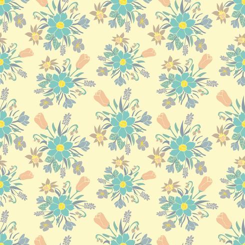 Naadloze kleurrijke achtergrond met Lentebloemen. Bloemmotief voor textiel. vector