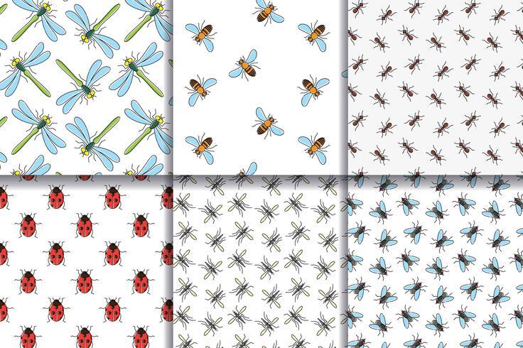 Insecten naadloze patroneninzameling. vector