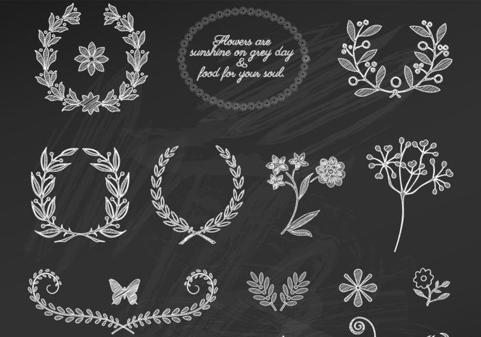 Krijt Getekende Bloemen Ornamentvectoren vector