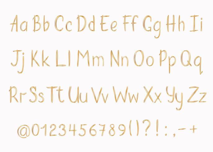 Gouden alfabet in schetsmatige stijl. Vector handgeschreven potlood letters, cijfers en leestekens. Gouden pen handschrift lettertype.