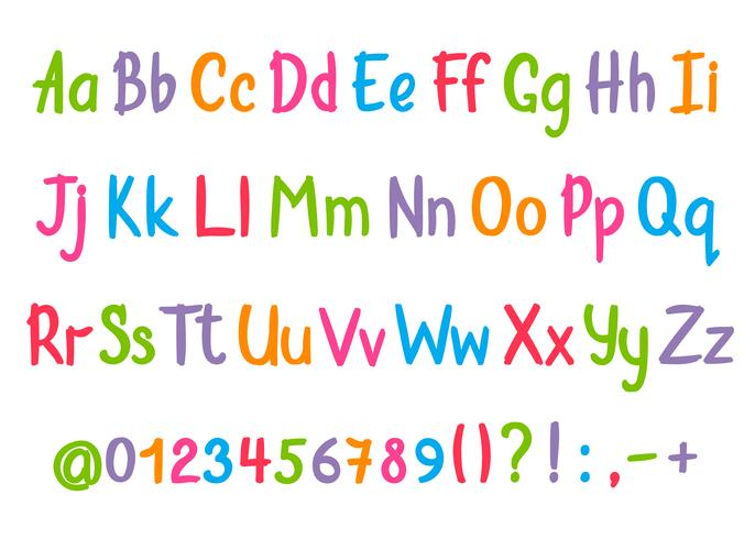 Coloful alfabet in schetsmatige stijl. Vector handgeschreven potlood letters, cijfers en leestekens. Brush pen handschrift lettertype.